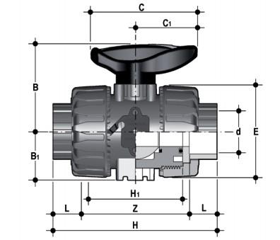 DP PVCc vdk double union ball valve fpm plain diagram