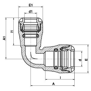 MDPE pushfit 90° elbow metric x imperial diagram