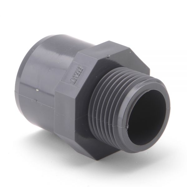 Adaptor Plain BSP Threaded Male Grey uPVC Pipe Fitting Imperial