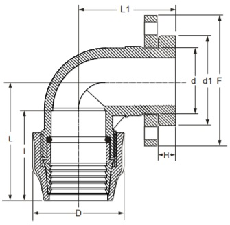 Flange Adaptor Elbow 90