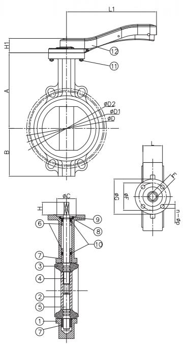 cast iron butterfly zinc plated disc valve