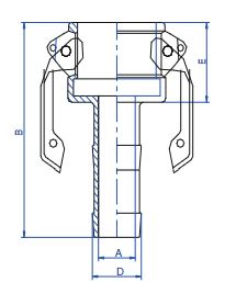 PP Type C Hose Tail Lever Coupling