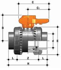 PVCc double union ball valve epdm diagram