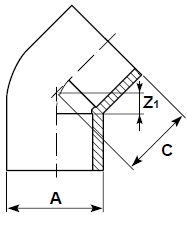 DP corzan cpvc elbow 45 plain diagram