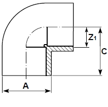 DP corzan cpvc elbow 90 plain diagram