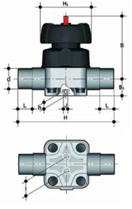 dp pvcc vm diaphragm valve union end male plain diaphragm