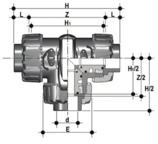 DP PVCc TDK 3 way ball valve T port diagram
