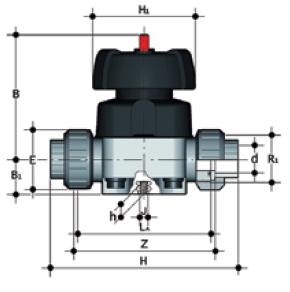 dp pvcc vm diaphragm valve union end female plain diagram