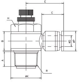 manual flow control elbow uni-directional bspt
