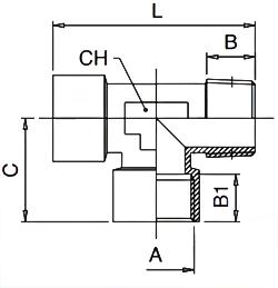 km-npba-Tee-offset-female-bspp-male-bspt-diagram