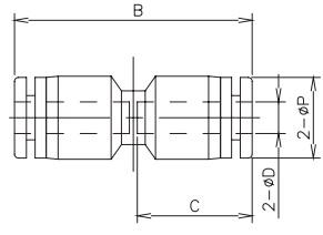 straight tube x tube connector 16 bar