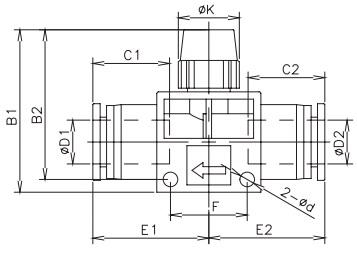 manual shut off valve tube x tube