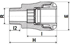 MDPE pushfit copper male adaptor diagram