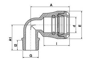 MDPE pushfit elbow 90 male diagram