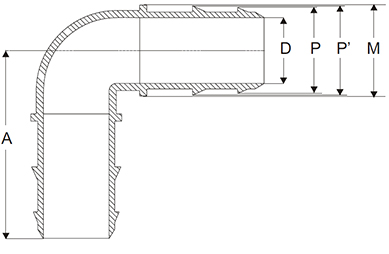 Polypropylene Hose Tail Elbow