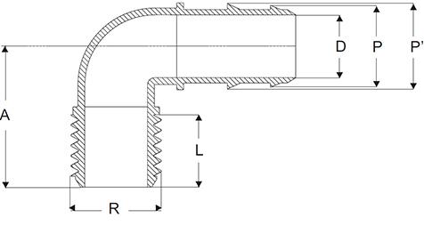 Polypropylene Hose Tail Elbow Male Thread