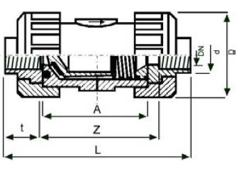 pp non-return valve threaded diagram