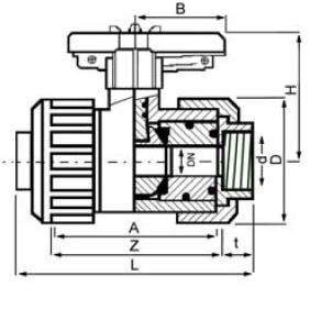 PPh ball bsp threaded diagram