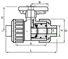 PPh ball valve spigot ended diagram