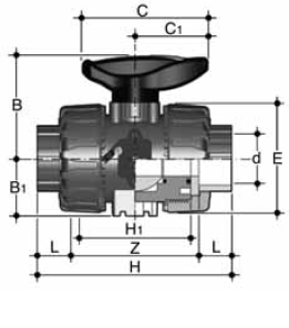 PPh double union ball valve durapipe diagram