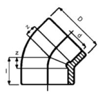PPh elbow 45 diagram