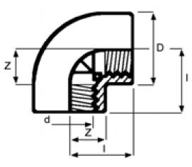 PPh elbow 90 threaded diagram