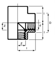 PPh tee 90 threaded diagram